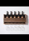 Vinhylde i træ til flasker og glas